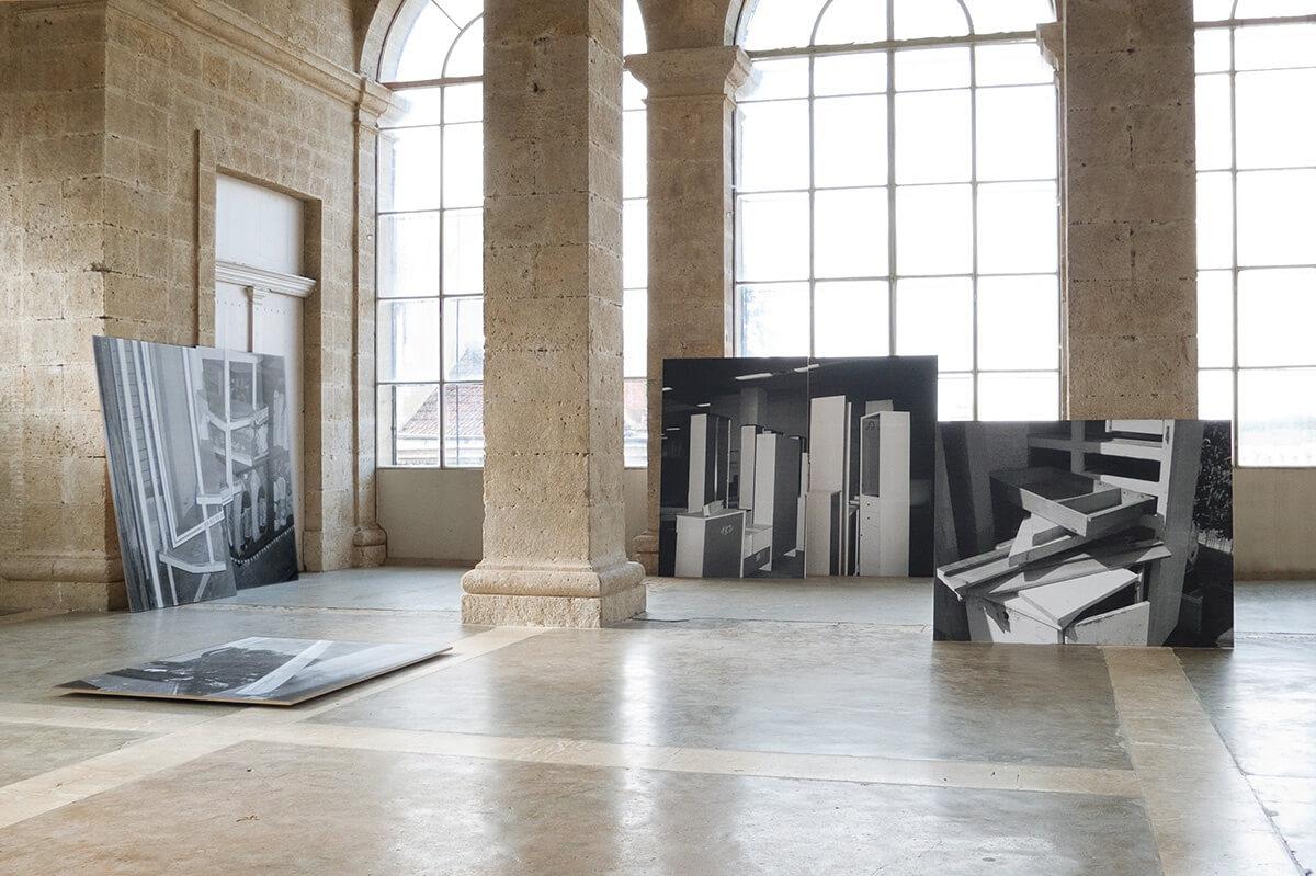 L'Été photographique de Lectoure, Centre de la Photographie de Lectoure, 2008<br /> Xerox prints on MDF, 210 x 280 cm, 150 x 210 cm