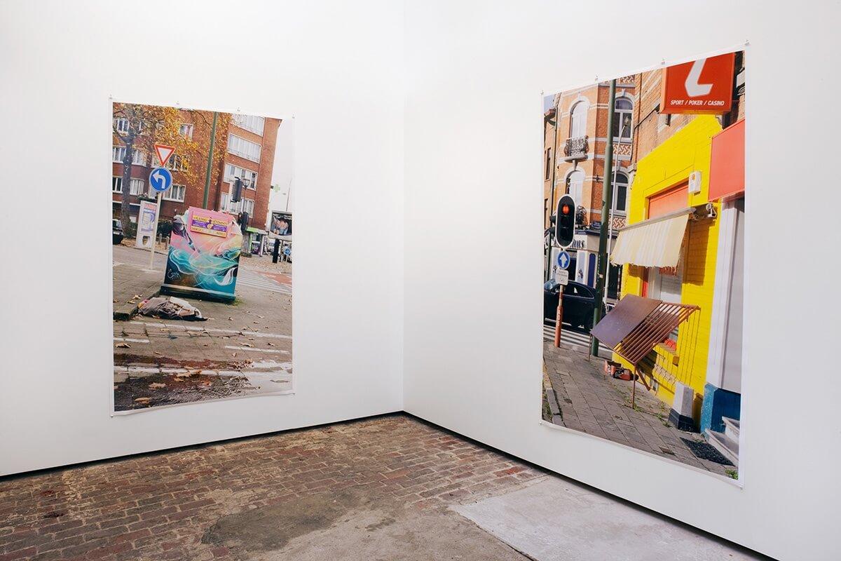 Four Oranges, Some office Buildings, Woman's Legs, Riot Gallery, Ghent, 2015<br /> archival pigment prints, 222 x 150 cm<br />