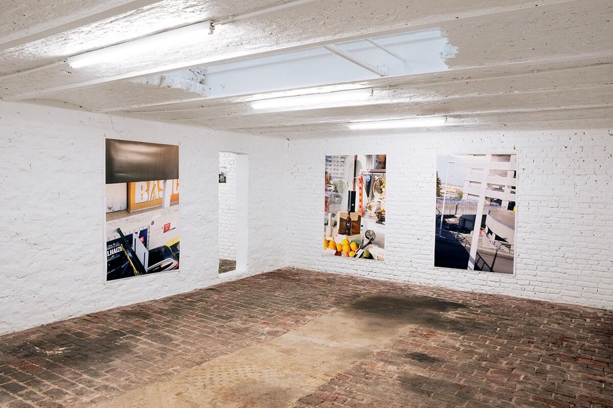 Four Oranges, Some office Buildings, Woman's Legs, Riot Gallery, Ghent, 2015<br /> archival pigment prints, 155 x 105 cm