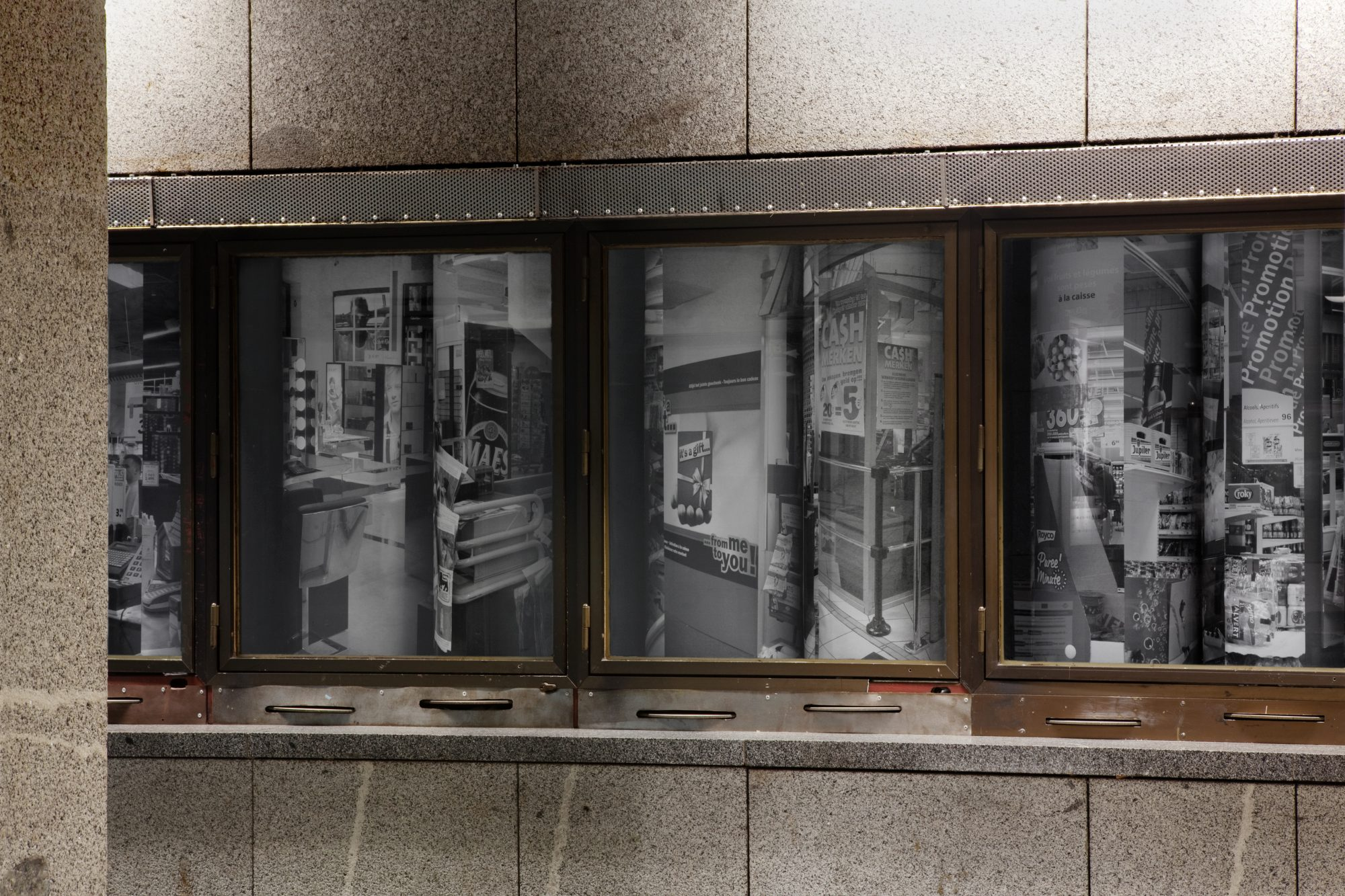 Capital Decor, Projektplus, Nádraží Holešovice, Prague (CZ), 2016<br /> 24 Xerox prints, 86 x 112 cm, mounted on 24 clynders