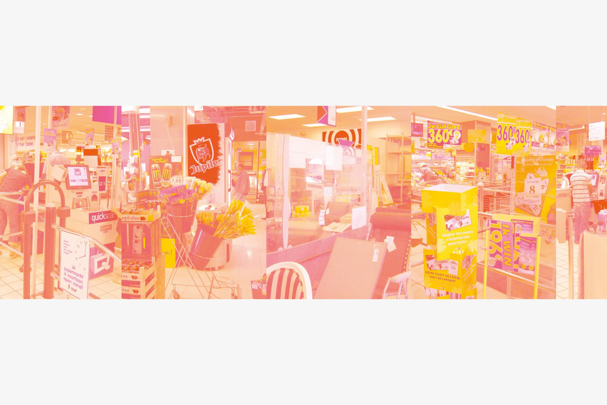 Capital Decor (Colour), yellow-magenta inkjet print, tabel, glas, 1273 x 50 x 75 cm