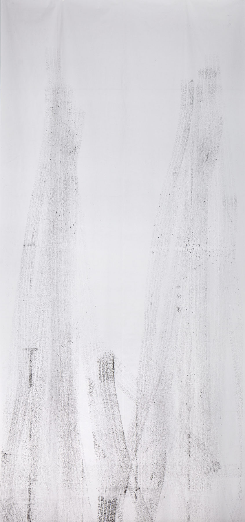 tyreprint, carbon on paper, 600 x 280 cm, 2019