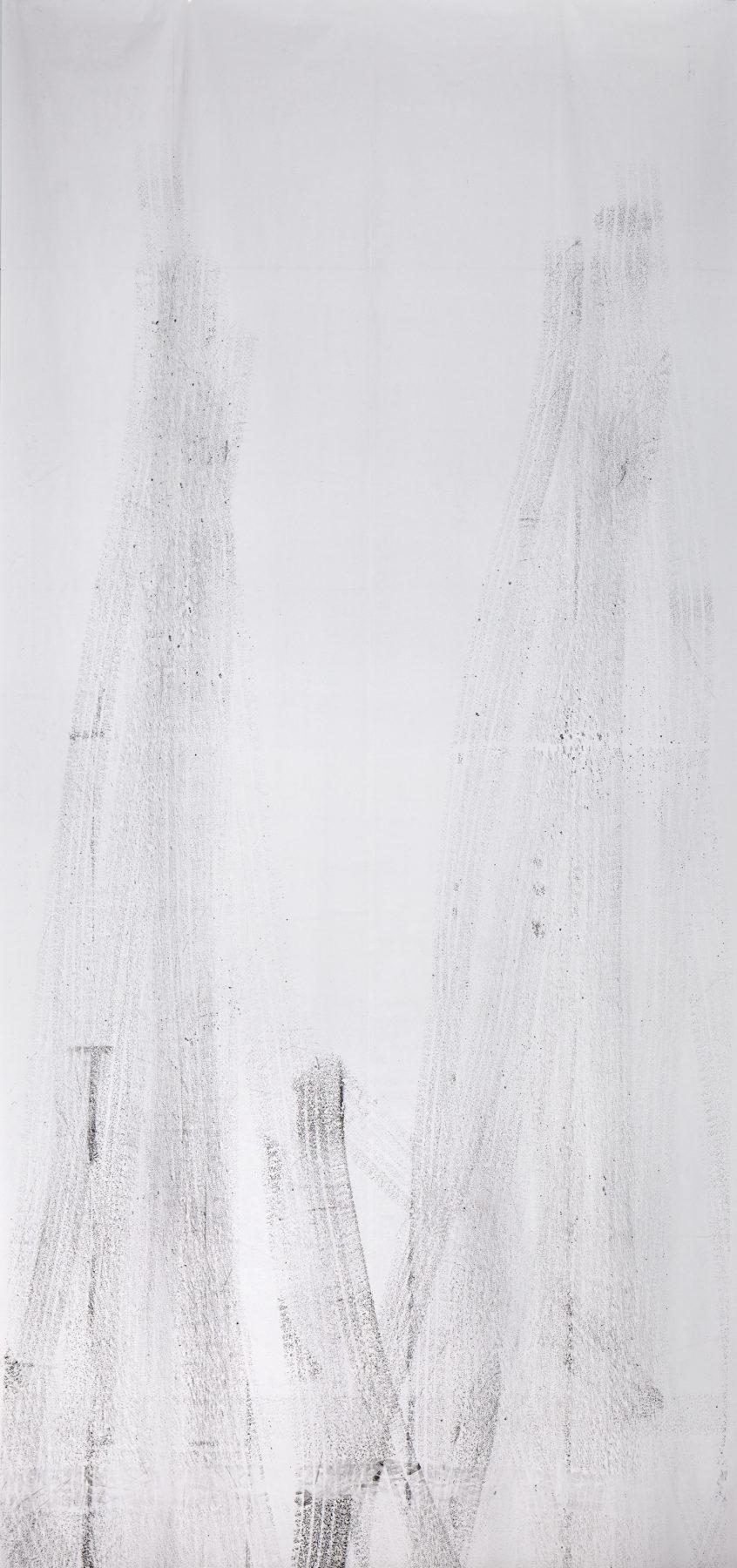 tyreprint, carbon on paper, 600 x 280 cm, 2019